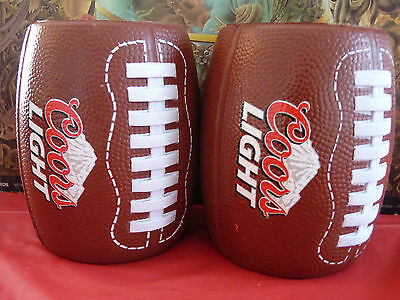 Lot of 2 Coors Light Football Beer Can Coldies Throwing Koozie Rubber