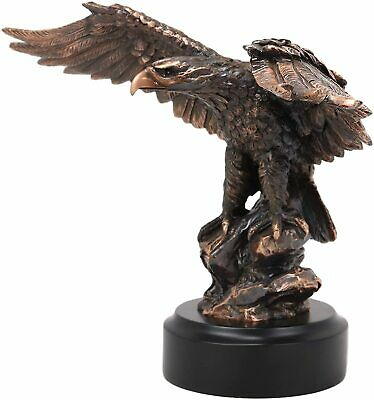 Bronze Electroplated Resin Globe Branch Bald Eagle Bookends Figural Decor Statue