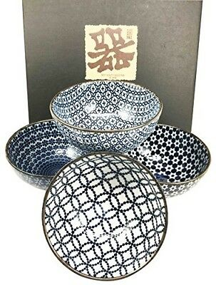 """Made in Japan Blue Geometry Glazed Ceramic Rice Meal Soup Dining Bowl Set 4.5"""" D"""