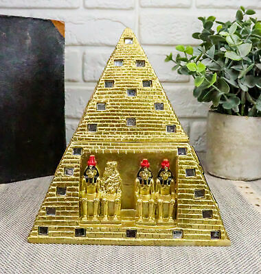 Egyptian Golden Mirror Pyramid Eye Of Horus Hinged Jewelry Box Figurine Statue