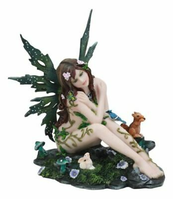 Once Upon A Dream Sitting Fairy With Forest Friends Statue Figurine