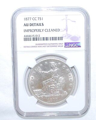 1877-Cc Trade Dollar - Ngc - Au Details - Improperly Cleaned - Silver