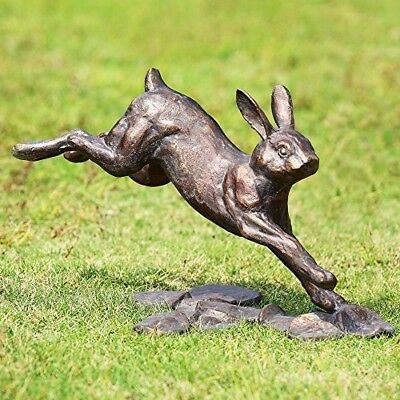 "SPI Home Running Rabbit Garden Statue Cast Iron Figurine 14.25"" Long"