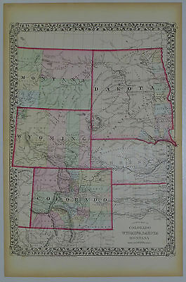1874 Genuine Antique Map Colorado, Wyoming, Dakota, Montana. A Mitchell