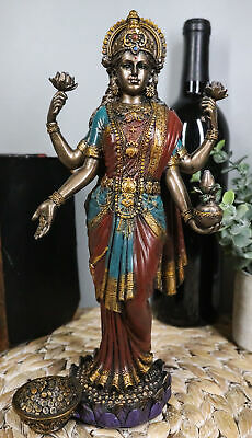 Atlantic Collectibles Hindu Goddess Of Fortune And Prosperity Lakshmi Standin...