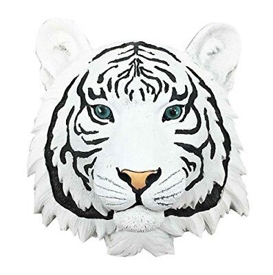 Exotic Rare White Siberian Tiger Mini Wall Bust Sculpture Hanging Decor Figurine