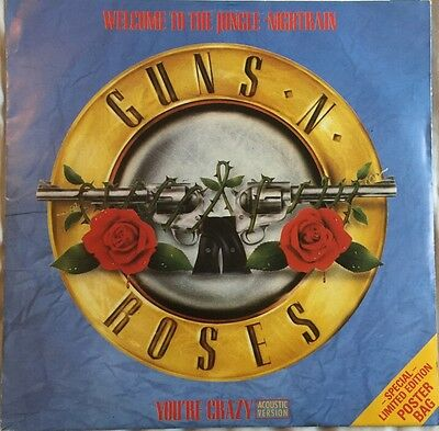 """Guns N' Roses Welcome To The Jungle/Nightrain 12"""" Vinyl In Limited Poster Bag"""