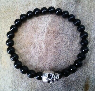 Black Onyx Gemstone Skull Beaded Surfer Silver Stretch Bracelet, Mens/ladies