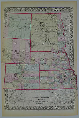 1872 GENUINE ANTIQUE Map Kansas Nebraska Colorado Wyoming ...