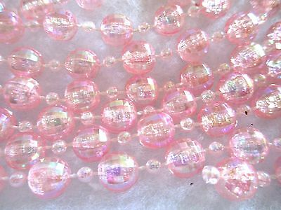 Vtg Style Xmas Garland--Pink Faceted Beads--9' Long--Loads Of Sparkle!!!