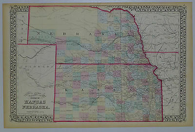1874 Genuine Antique Map of Kansas & Nebraska counties. S A Mitchell