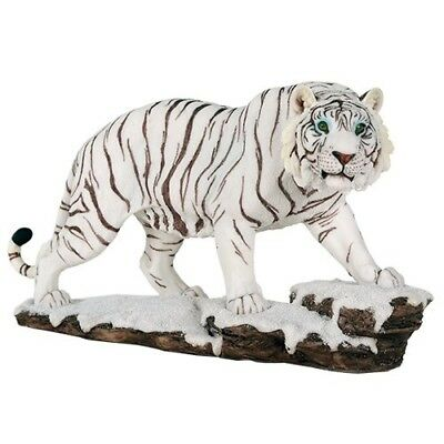 White Siberian Tigers Trotting On Snowcap Rocks Wildlife 11 Inch Collectible ...