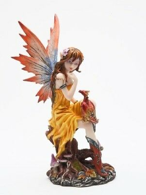 7 Inch Fairy with Orange Dragon Mythological Statue Figurine