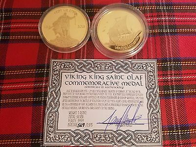 Limited 2015 Viking King Saint Olaf Commemorative 1 Oz. Gold Layered Medal Coin