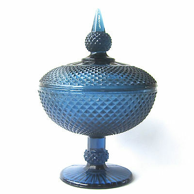 Vintage Glass Pedestal Lidded Compote Diamond Point Blue Candy Dish Footed