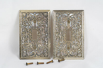 Vintage 50's / 60's Light Switch Face Plate Cover Ornate Victorial Lace Metal