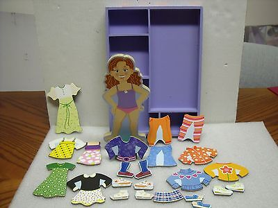 Melissa & Doug Maggie Leigh wooden magnetic dress up doll wood paper style toy
