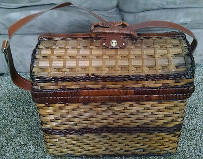 Wicker Picnic Basket Hamper with complete dinnerware for 4 & storage boxes