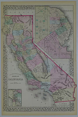 1872 Genuine Antique Map of California, San Francisco. S A Mitchell