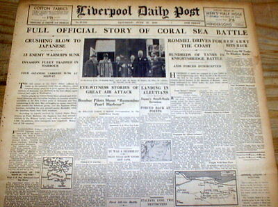 4 1942 WW II newspapers BATTLE of the CORAL SEA - US Navy defeats Japanese Navy