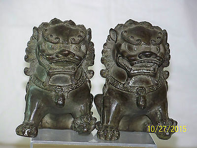 Pair of Chinese Qing Dy Bronze/Metal Temple Foo Dogs w/Reign Marks