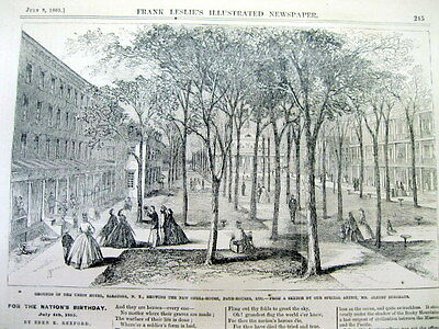 1865 Illustrated newspaper SCENES of SARATOGA New York during CIVIL WAR Poster