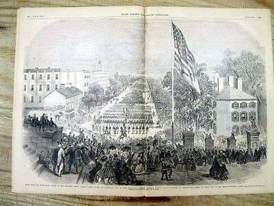 1865 Illustrated CIVIL WAR newspaper FUNERAL TRAIN of President ABRAHAM LINCOLN