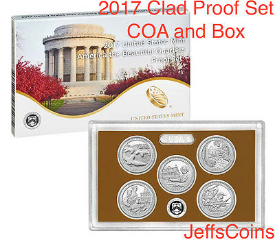 2017 S US Mint Proof Set ATB 5 Clad Quarters Box COA Effigy - George Rogers 17ap