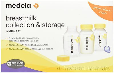 Medela Breast Milk Collection and Storage - 6 Count Bottle Set - 5 Ounce - NEW