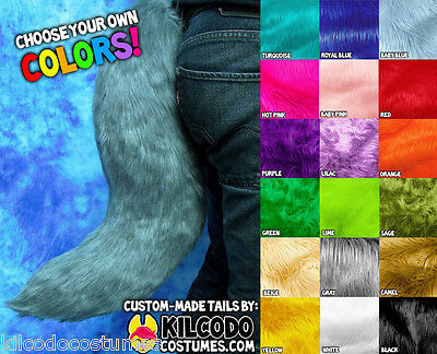Custom Color Fake Faux Fur Costume Tail - Fox Wolf Furry Fursuit Cosplay Puppy