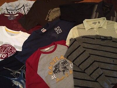 Mens Large Shirt LOT of 10 Casual T Shirts POLO Fossil Abercrombie Tommy Bahama