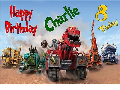 DINOTRUX TY Birthday Card A4 TRIFOLD PERSONALISED