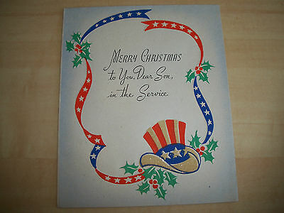 Vintage 1940's Wwii Merry Christmas To You Dear Son In Service Greeting Card