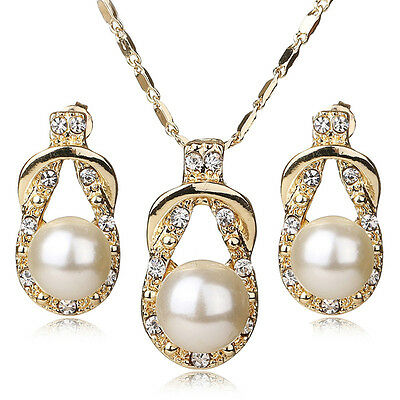 Teardrop Style Gold Plated Faux Pearl Necklace & Earring Jewelry Set For Women
