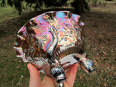 Sowerby DIVING DOLPHINS ANTIQUE CARNIVAL ART GLASS FTD RUFFLED BOWL~AMETHYST!