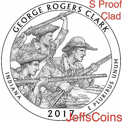 2017 S George Rogers Clark Park Quarter Indiana CLAD Proof ATB U.S.Mint Low Cost