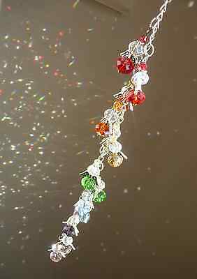 guardian angel suncatcher, rainbow coloured glass beads, lovely respite gift