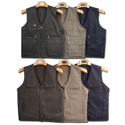 Washable 3 Colors Very Men's Multi Pockets Casual Vest Outdoor Hiking S19T