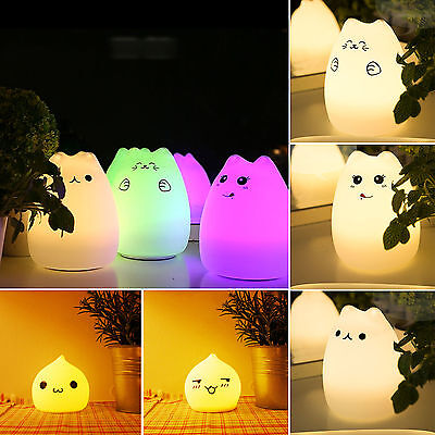 Baby Kids Cartoon Cat Battery LED Night Light Color Changing Lamp Gift Toy Decor