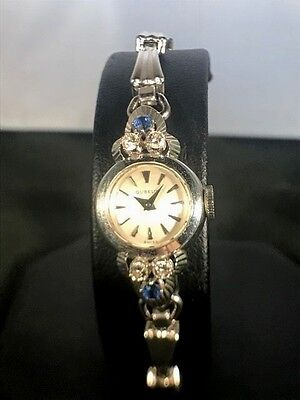 Vintage Gubelin 18k White Gold Watch with Diamonds and Sapphire Bezel