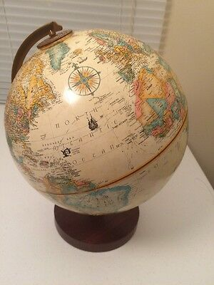 "RARE VINTAGE Replogle 9"" WORLD CLASSIC GLOBE RAISED RELIEF Hardwood Base"