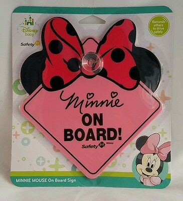 """Safety 1st Disney Baby Minnie Mouse """"Minnie On Board"""" Car Safety Sign Decal"""