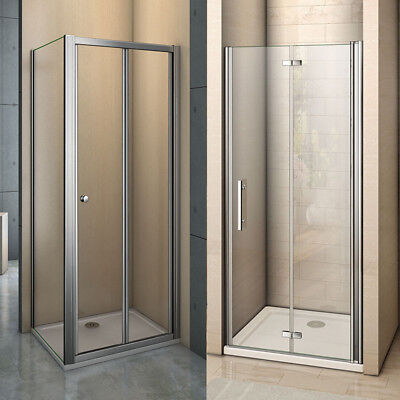 Frame Frameless Bifold Shower Enclosure & Tray Walk In Glass Door Screen Cubicle