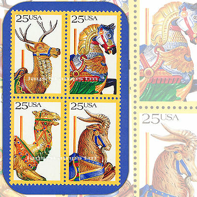 1988  CAROUSEL ANIMALS Attached BLOCK of 4  MINT 25¢ Stamps # 2390 - 2393  2393a