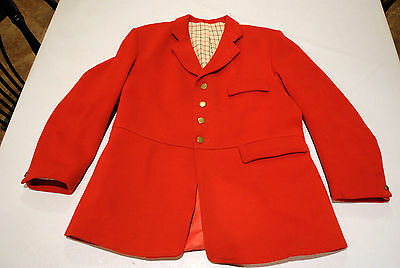 HEYTHROP heavy FROCK melton hunt coat jacket MENS 44L foxhunting Pink Red Pinque