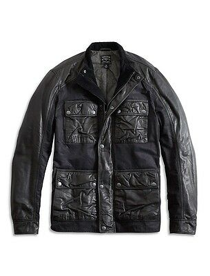 Lucky Brand Black Label Men's Genuine Lambskin Leather Wax Mix Jacket $299 NEW L