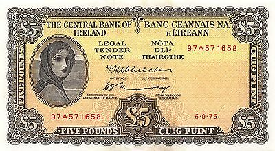 Ireland 1975 5 Pounds P-65c UNC