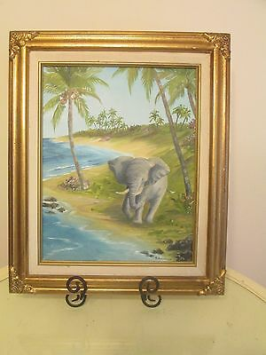 "Charming Signed Oil On Canvas  13X10"" Young Elephant Water Scene By E. Johnsen"