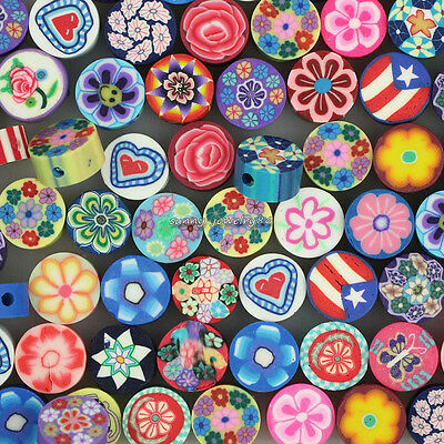 200pcs 10mm Mixed Polymer Fimo Clay Flat Round Flower Loose Spacer beads SL93