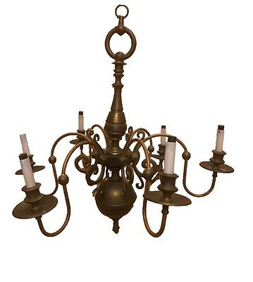 Antique Solid Brass and Copper Chandelier 6 Arm - Vintage Chandelier
